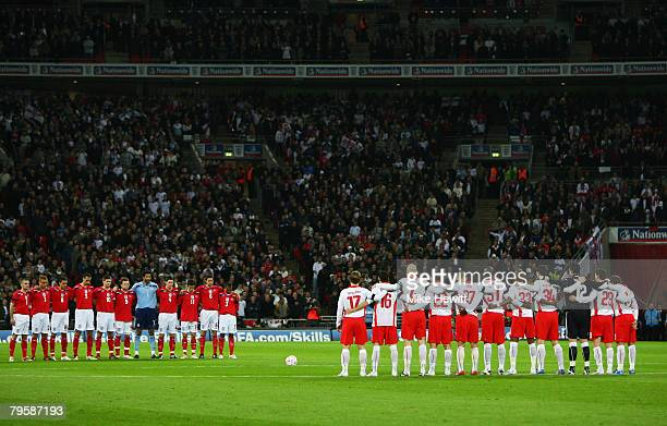 The England and Switzerland players observe a minutes silance in respect to the Manchester United Munich Air Disaster during the international...