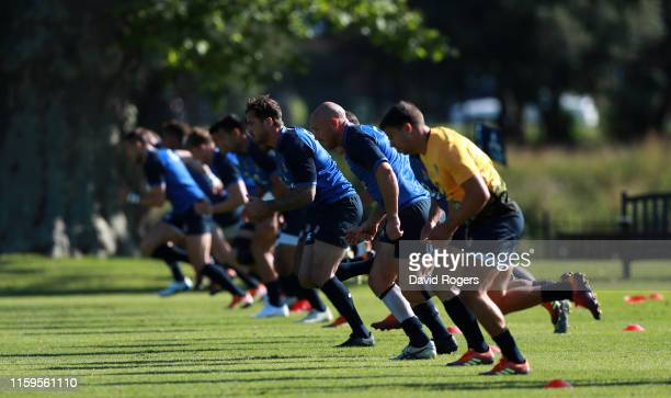 The England backs sprint during the England training session held at the Lensbury Club on July 02 2019 in London England