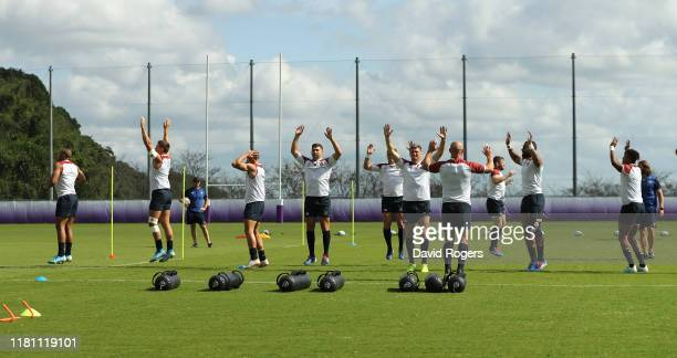 The England backs warm up during the England training session held Jissouji multi purpose ground on October 15 2019 in Beppu Japan