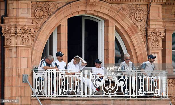 The England balcony with captain Alastair Cook Joe Root coach Peter Moores and Matt Prior look on during day five of 2nd Investec Test match between...
