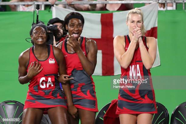 The England bench cheer during the Netball Gold Medal Match on day 11 of the Gold Coast 2018 Commonwealth Games at Coomera Indoor Sports Centre on...