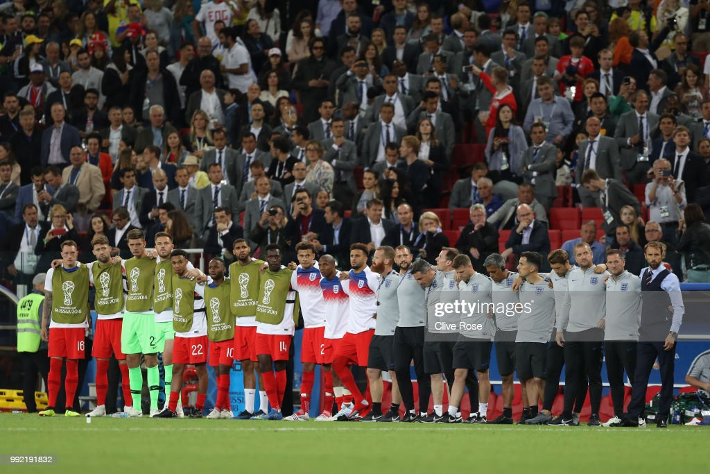 The England bench look on during the penalty shoot out in the 2018 FIFA World Cup Russia Round of 16 match between Colombia and England at Spartak Stadium on July 3, 2018 in Moscow, Russia.