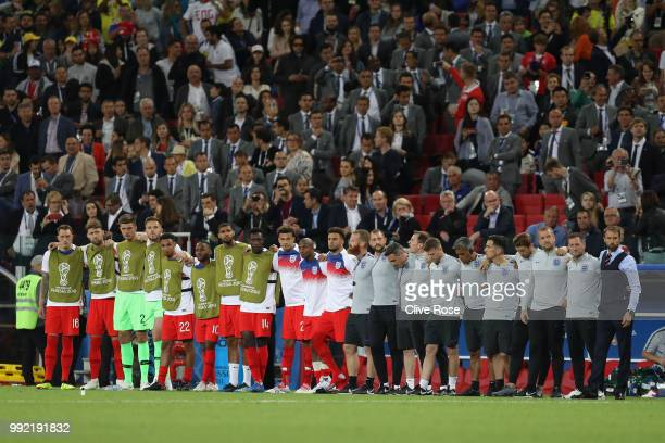 The England bench look on during the penalty shoot out in the 2018 FIFA World Cup Russia Round of 16 match between Colombia and England at Spartak...