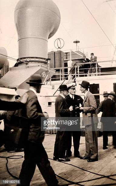 The England captain Douglas Jardine talking with officials on the deck of the RMS Orontes prior to depature from Southampton for the Ashes tour of...