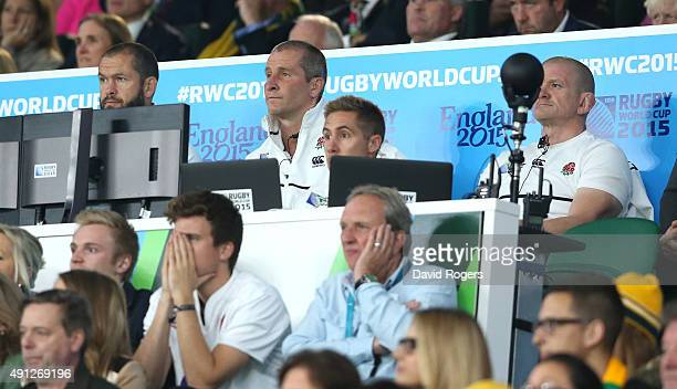 The England coaches Andy Farrell, Stuart Lancaster, head coach and Graham Rowntree looks on during the 2015 Rugby World Cup Pool A match between...