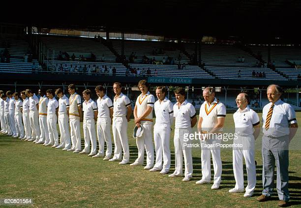 The England cricket squad lined up to pay their respects to the recently deceased Mrs Indira Gandhi and also the British Deputy High Commissioner Mr...
