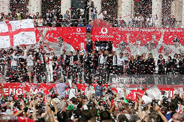 The England Cricket Team arrive in Trafalgar Square as fans gather to celebrate the team winning the Ashes Tour, September 13, 2005 in London.