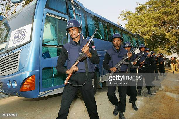 The England Cricket team arrive with armed security at The National Stadium for a nets session prior to tomorrow's 3rd One Day International during...