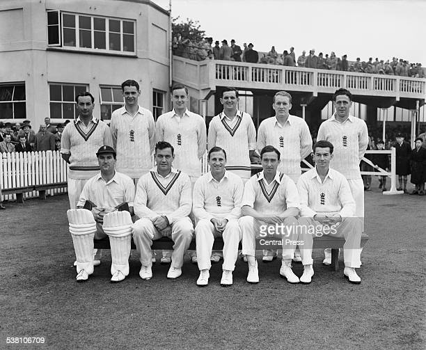 The England cricket team at Trent Bridge Nottingham during the 1st Test against Australia 11th 16th June 1953 Back row left to right Don Kenyon Roy...