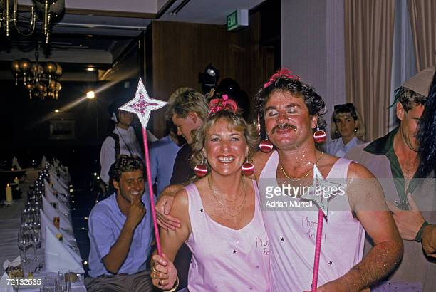 The England cricket team attend a Christmas party during their Australian tour December 1986 South Africanborn Allan Lamb and his wife are dressed as...