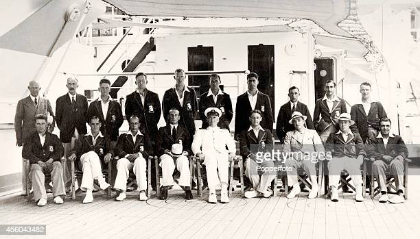 The England cricket team captained by Douglas Jardine onboard RMS Orontes en route to their Cricket Tour of Australia circa September 1932