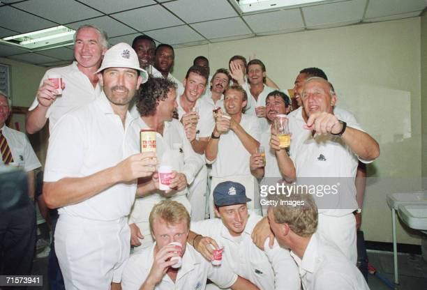 The England cricket team celebrating in the dressing room after their victory in the first test against the West Indies at Sabina Park, Kingston,...