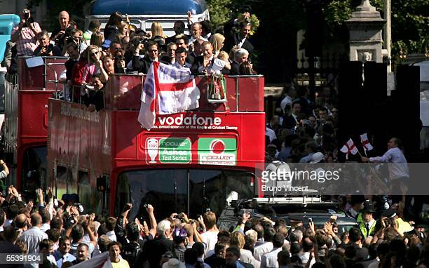 The England Cricket team parade down the Strand towards Trafalgar Square as part of the Ashes victory celebration on September 13 2005 in London