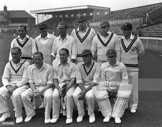 The England cricket team to play against India Back row from left to right Plinblett Arthur E Fagg Joe Hardstaff Alf Gover Stan Worthington Laurence...