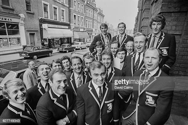 The England cricket team visit the Decca recording studio on Broadhurst Gardens West Hampstead London UK to record 'The Ashes Song' April 1971 Among...