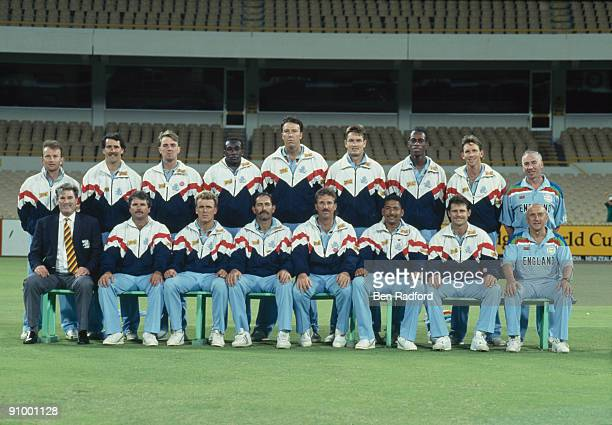The England cricket team with captain Graham Gooch seated 4th from left at the 1992 Cricket World Cup Australia February 1992