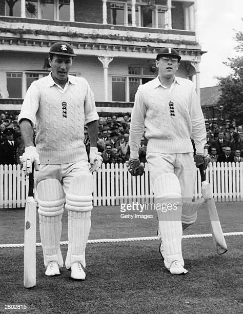 The England cricketer, Geoff Boycott, walks onto the field with Fred Titmus on June 5, 1964 at Trent Bridge in Nottingham, England.