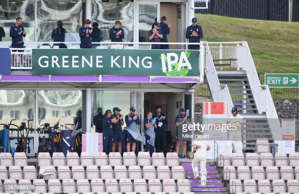 The England dressing room stands to applaud Zak Crawley of England as he is dismissed for 267 during Day Two of the 3rd #RaiseTheBat Test Match...