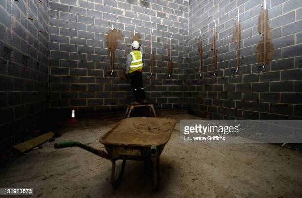 The England dressing rooms takes shape during the ongoing development of the St Goerge's Park National Football Centre during a site visit on...