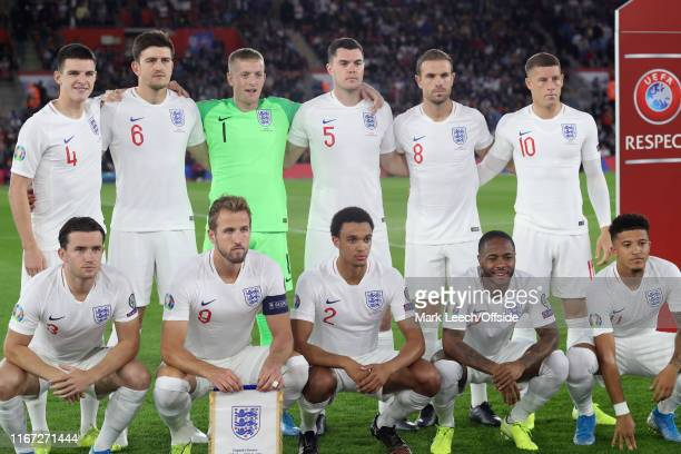the England eleven pose for a team group photo before the UEFA Euro 2020 qualifier match between England and Kosovo at St Mary's Stadium on September...