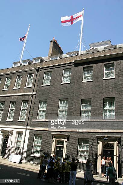 The England flag flies at No 10 Downing Street London on the day of England's first fooball match of the World Cup againsy Paraguay