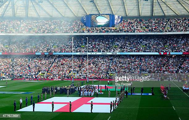 The England flag on show during the national anthem before the RBS Six Nations match between England and Wales at Twickenham Stadium on March 9 2014...