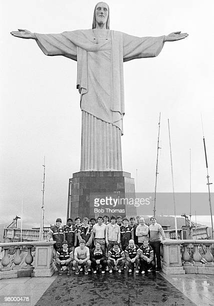 The England football squad pose for a group photo beneath the statue of Jesus Christ on Corcovado in Rio de Janeiro, Brazil during their Tour of...