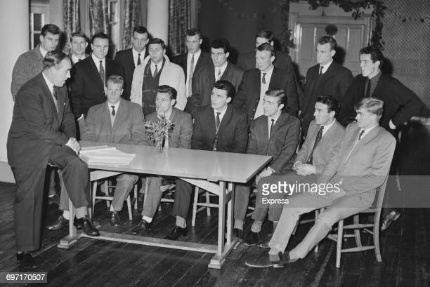 The England football squad UK 1st January 1964 From left to right Bobby Thomson Roger Hunt George Cohen David Sadler Mike Bailey and six others...