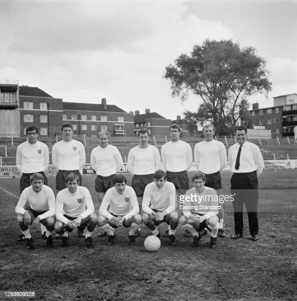 The England football team ahead of the Euro qualifying match against Spain, UK, 8th May 1968. From left to right Norman Hunter, Brian Labone, Bobby...
