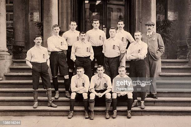 The England football team pictured at their hotel in Bristol prior to the International match against Wales at Ashton Gate on 20th March 1899 England...