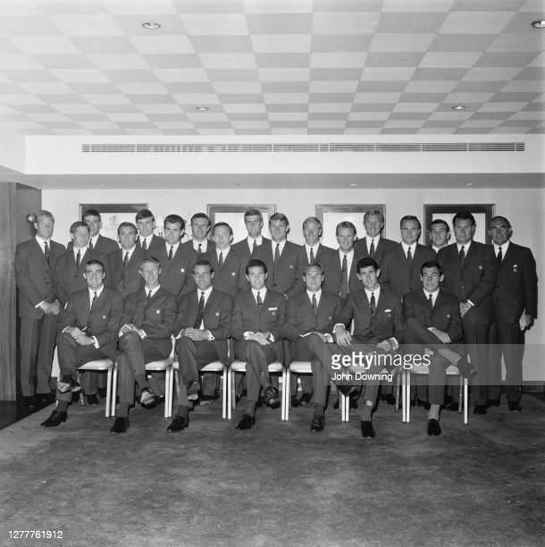 The England football team pose at the Hilton Hotel in London, before the FIFA World Cup, UK, 20th June 1966. From left to right, are Ron Flowers,...