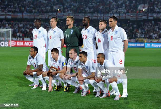 The England football team prior to the 2010 FIFA World Cup Group C match between England and USA at the Royal Bafokeng Stadium in Rustenbjurg South...