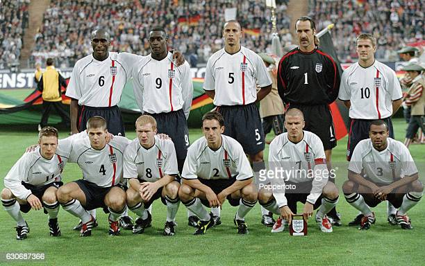 The England football team prior to the FIFA World Cup Qualifying match between Germany and England in Munich on 1st September 2001 England won 51...