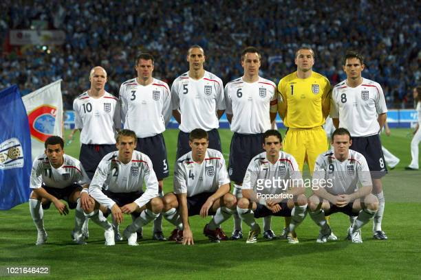 The England football team prior to the UEFA EURO Group E 2008 Qualifying match between Israel and England at the Ramat Gan National Stadium in Tel...