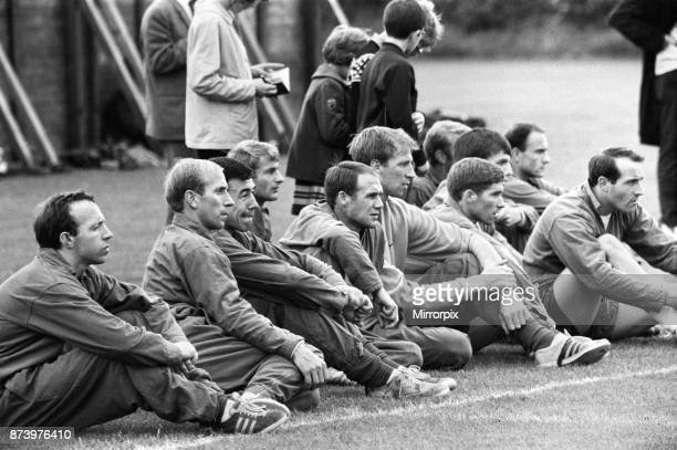The England football team spend the afternoon training at the Arsenal practice field at London Colney as they prepare for their World Cup Final match...