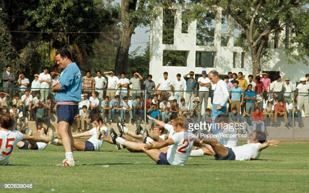 The England football team the reigning World Champions preparing for their first match at the 1970 FIFA World Cup with a training session at the...