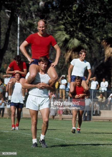The England football team, the reigning World Champions, preparing for their first match at the 1970 FIFA World Cup with a training session at the...