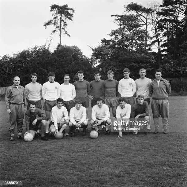 The England football team, UK, 24th May 1967. From left to right manager Alf Ramsey, Geoff Hurst, Martin Peters, George Cohen, Brian Labone, Gordon...