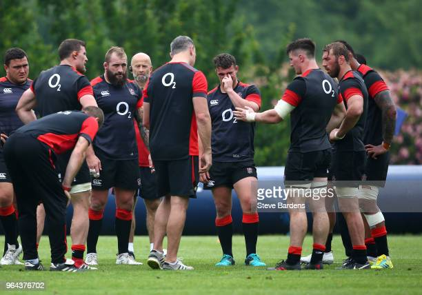 The England forwards in a training session during England Rugby media access at Pennyhill Park on May 31 2018 in Bagshot England