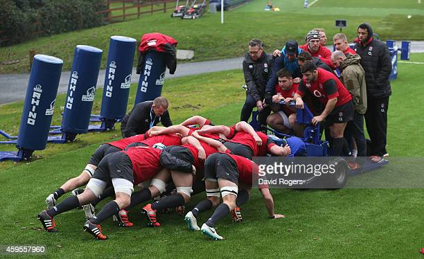 The England forwards pratice their scrummaging during the England training session held at Pennyhill Park on November 25 2014 in Bagshot England