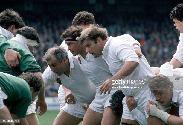 The England front row left to right Paul Rendall Brian Moore and Jeff Probyn during the Inaugural Millennium Trophy rugby match between Ireland and...