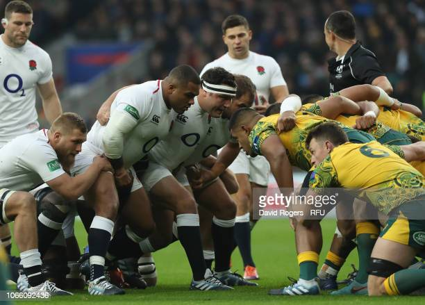 The England front row of Kyle Sinckler Jamie George and Ben Moon prepare to scrum during the Quilter International match between England and...