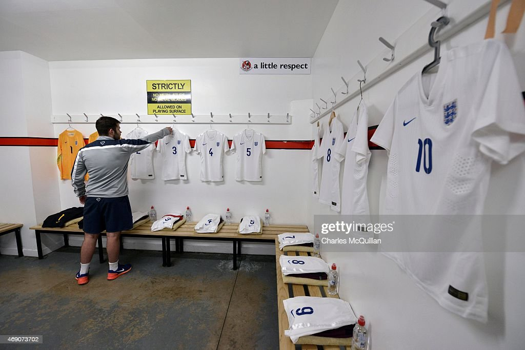 The England kits are laid out in preparation of the retaking of a last minute penalty by Leah Williamson of England from the UEFA U19 Women's Qualifier between England and Norway at Seaview on April 9, 2015 in Belfast, Northern Ireland. The original penalty, taken during the game played on Saturday April 4, 2015, was incorrectly disallowed by the match official and the retaking of the penalty, with both teams in attendance, was ordered by UEFA.