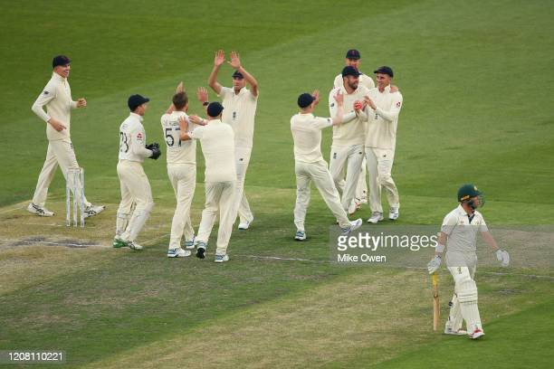 The England Lions celebrate after dismissing Marcus Harris of Australia A during the Four Day match between Australia A and the England Lions at...