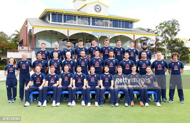 The England Lions cricket team pose for a team photo before a training session at Allan Border Field on November 24 2017 in Brisbane Australia