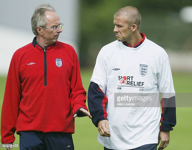 The England manager Sven Goran Eriksson chats with David Beckham before an England training session at the Carrington training complex owned by...