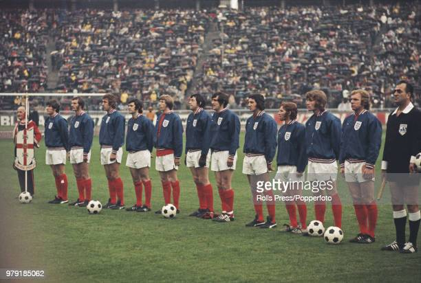 The England national football team line up together prior to playing West Germany in the UEFA European Championship quarter final match at the...