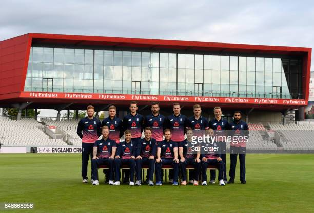 The England ODI squad pictured infront of the point building ahead of the 1st ODI against West Indies at Old Trafford on September 18 2017 in...