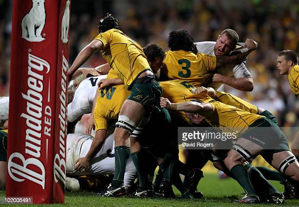 The England pack overpower the Australian Wallabies pack with resulted in a penalty try being awarded during the Cook Cup Test match between the...