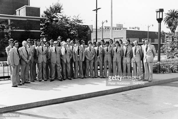 The England party line up at Los Angles Airport : Joe Royle, Bill Taylor, Alan Odell, Ray Clemence, Ian Gillard, Roy McFarland, Gerry Francis, Trevor...